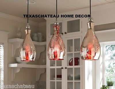 1 RED MERCURY GLASS PENDANT KITCHEN ISLAND LIGHT FIXTURE CONTEMPORARY COTTAGE