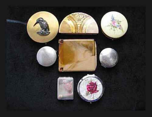 Collection of 8 Vintage Compacts Makeup Powder 1 Coro 1 Silver Double Mirror