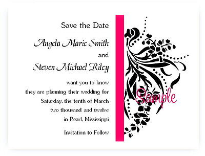 100 Custom Personalized Wedding Flourish Save The Date Cards Any Stripe Color - Custom Save The Dates