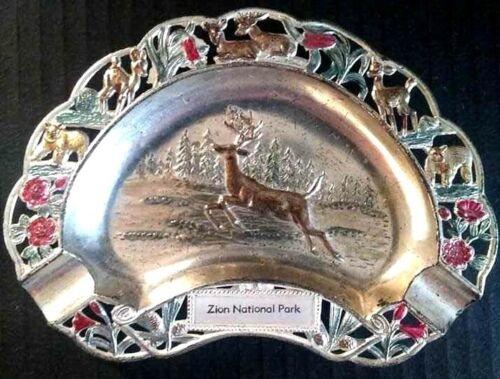Vintage Metal Souvenir Tray Zion National Park Deer JAPAN Boho Kitsch