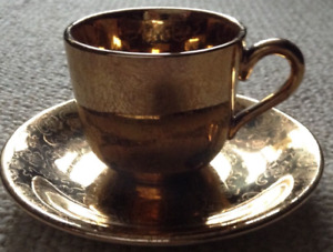 22K Fleetwood China Gold Expresso Cup and Saucer-$20