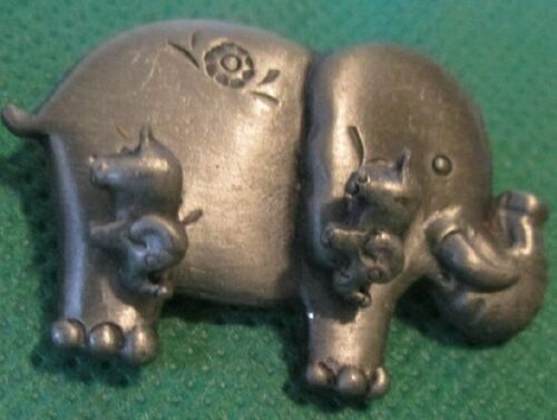 "ELEPHANT silvertone metal pin brooch 1.5"" and earrings set"