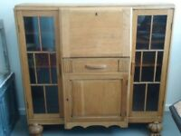 Vintage Art Deco Writing Desk Antique Secretaire Bureau Sideboard Storage