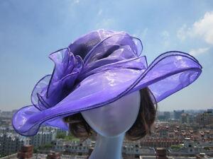 Womens Vintage Kentucky Derby Sun Hat Wide Brim Wedding Church Racing 8 color