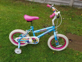 """Girls 14"""" Sweet Bug blue and pink bike, with bell and stabilisers"""