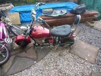 Mini Moto chopper 50cc pull start but lost the key and throttle is broken so not running atm.
