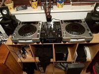 cdj 800 mk2 , djm 400 mixer, monitor speakers and headphones