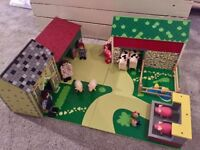 Oldfield farm + animals + farmer's family