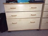wardrobe with 3 drawers and 3 drawer chest of drawers for sale
