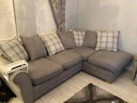 Grey & white left hand corner sofa + cuddle swivel chair for sale
