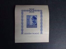 CROATIA 1943 YOUTH FUND IMPERF MINATURE SHEET