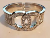 Silver Style CC Chanel Bangle with Diamantes