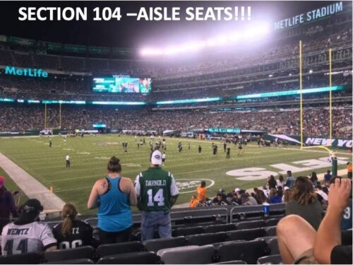 2 TICKETS NEW YORK JETS vs TAMPA BAY BUCCANEERS 2021 - LOWER CORNER AISLE SEATS!