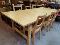 Modern extending table and six chairs