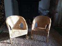 2 x Children's wicker chairs