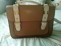 brown and light pink handbag