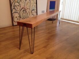 Solid oak reclaimed huge bench
