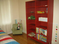 Linnarp bookcase and headboard in red perfect for child's room