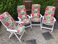 4x Garden reclining chair with cushions patio chairs white plastic