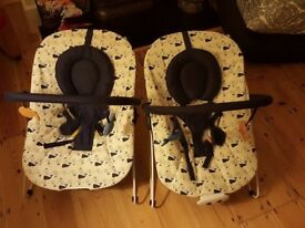 2 x whale print baby bouncers - excellent condition