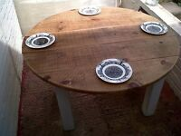 Rustic and Chunky Round Pine Table. Shabby Chic