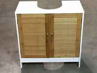 White and bamboo effect under basin cabinet