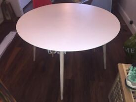 White round wooden dining / breakfast table from Dwell and 4 Chairs -Excellent condition!
