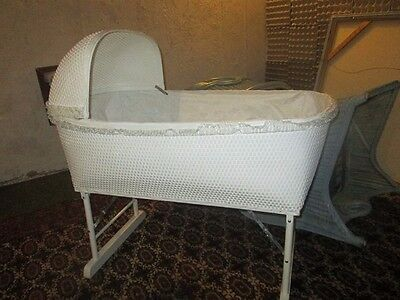 Vintage Lined White Wicker Wood Baby Bassinet with Wheels & removable Canopy