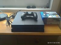 500GB PS4 with games and long controller charger cable