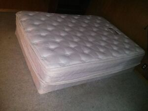 free red futon with blue cover and double mattress & box spring
