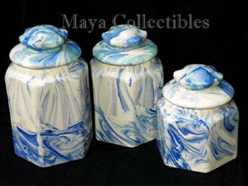 Vintage Blue White Marbleized Swirl Hexagon Ceramic Canisters Set Weller Style