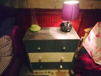 Hand painted upcycled chest of drawers