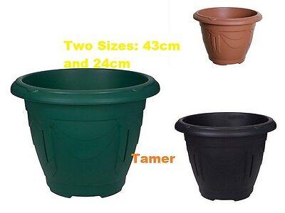 Venetian Round Plant Pots Planters Plastic 24 & 43cm Terracotta Black Green Pots