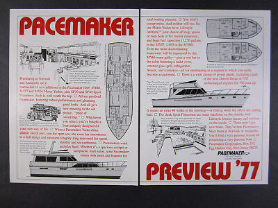 1977 Pacemaker 46 57 66 Motor Yachts interior plans layouts vintage print Ad for sale  Hartland