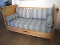 Excellent condition Simon Horn, London designed and manufactured wood framed sofa.