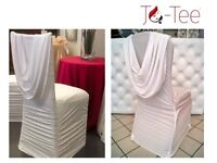 White Spandex Ruched Swag Chair Cover HIRE from £2.50 ONLY