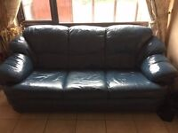 Genuine Blue Leather 3 Seater Sofa and 2 Arm Chairs, Immaculate Condition, Very Comfortable