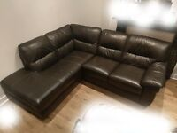 L-Shaped Black Leather Sofa 1 Year Old