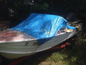 OLDER ALUMINUM BOAT ,WITH  NEWER 30HP...