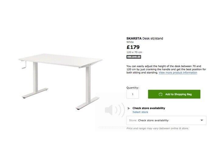 Ikea Standing Desk Skarsta Sit Stand Brand New Still In