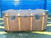 VINTAGE WOODEN BANDED STEAMER TRUNK - ANTIQUE VINTAGE RETRO