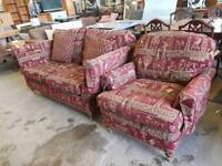 Egyptian style sofa with matching armchair