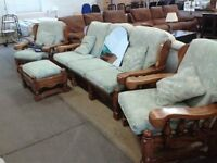 Hardwood and fabric 3 piece suite