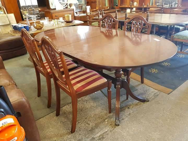 Dining Table And 4 Striped Chairs