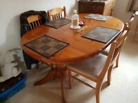 Large Solid Pine extendable Table and 4 Chairs