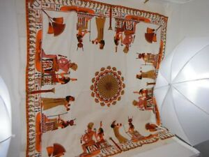 Amazing Vintage, Linen Egyptian Style Tablecloth, Excellent Cond