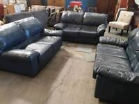 X3 Blue leather 2 seater sofas