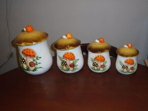 Vintage 1970's Retro Sears Roebuck Canisters & Mugs