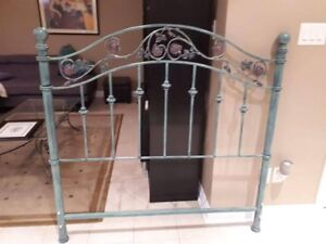 Iron bed + shelfs, mirror (GREAT FOR GIRLS ROOM)