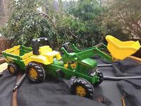 John Deere pedel tractor and trailer